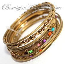 Beauty for Ashes Rustic Multicolor Bangle Set Metal Antique Fashion Brac... - $18.95
