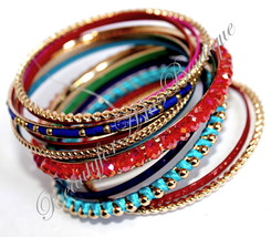 Colorful Rustic Bangle Set of 13 Multicolor Metal Beaded Bracelet Crysta... - $9.97