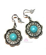 Disc Circle Round Turquoise Stone Medallion Rustic Cabo Flower Earrings - $9.95