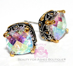 Beauty for Ashes Throne Room Fire Aurora Borealis Rainbow AB CZ Post Earrings - $59.00