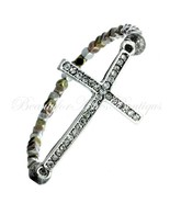 Multi Metal Beaded Crystal Cross Tritone Rustic Stretch Wear It Now Brac... - $12.00