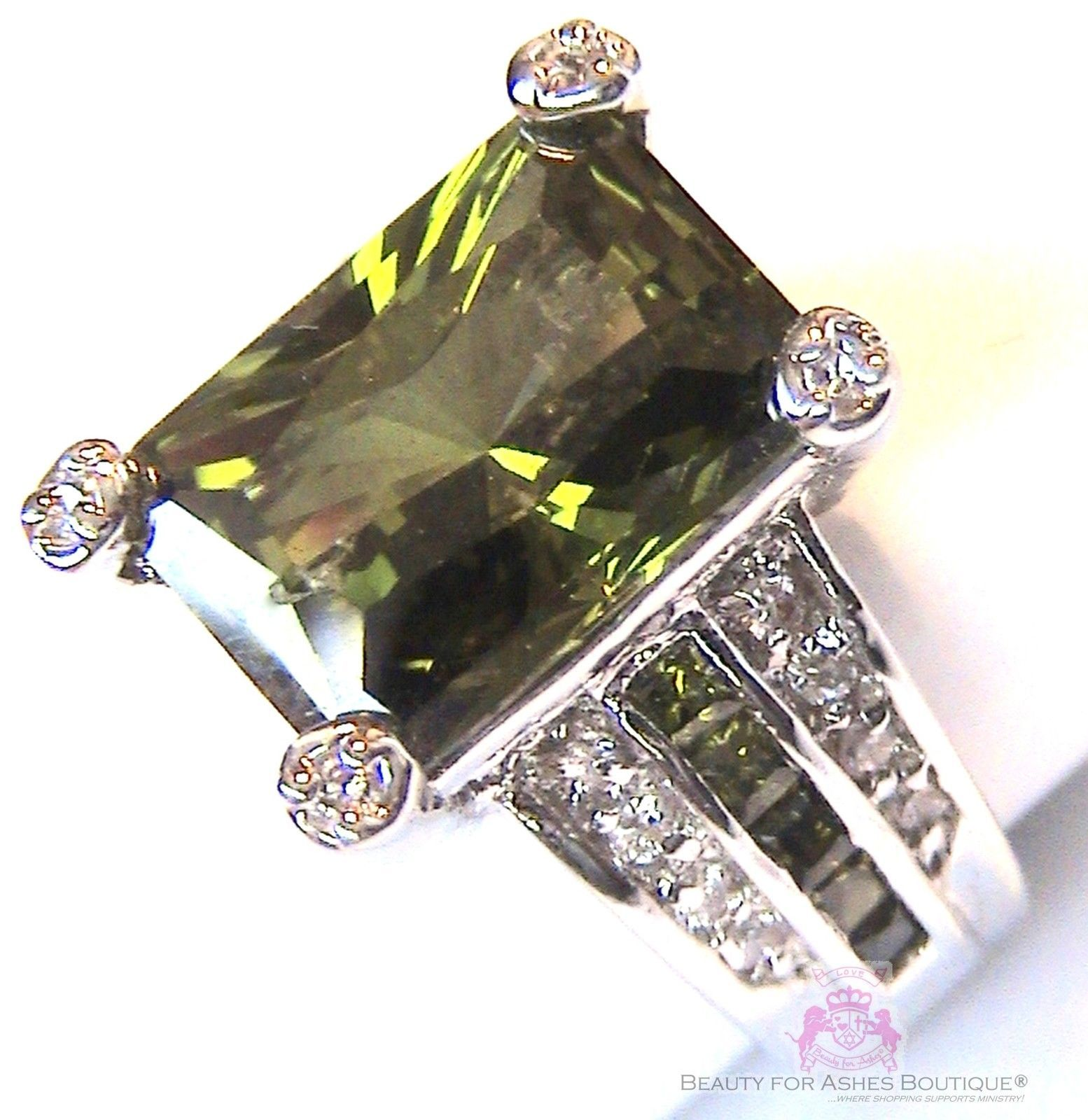 Beauty for Ashes Evergreen Olivine Olive Green CZ Prom Celebrity Cocktail Ring - $24.50 - $49.00