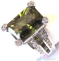 Beauty for Ashes Evergreen Olivine Olive Green CZ Prom Celebrity Cocktail Ring - $24.50+