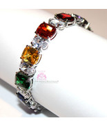 Multi Color Clear Dressy CZ Arm Candy Rainbow in the Sky Gala Prom Bracelet - $249.00