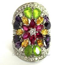 Ladies Wide Multi Citrine Rose Amethyst Clear CZ Flower Colorful Burst Ring - $52.99