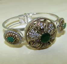 Vintage, Beautiful Indian Emerald Bracelet,925 Silver, White Topaz - $44.00