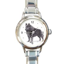 Ladies Round Italian Charm Bracelet Watch Schipperke Dog Pet Gift model ... - $11.99