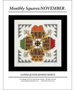 Monthly Squares November cross stitch card chart Linda Jeanne Jenkins - $6.00