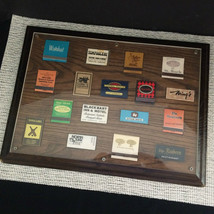 "Vintage Set of 17 Framed Matchbook Covers Wood Frame Size 12"" x 16"" - $37.73"