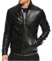 Handmade mens black leather jacket, Mens bomber leather jacket, leather ... - $159.99