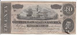"1864 T-67 TWENTY DOLLAR CONFEDERATE STATES OF AMERICA NOTE -""CRISP"" - $128.25"