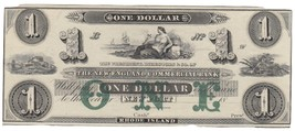 """THE NEW ENGLAND COMMERCIAL BANK of RHODE ISLAND $1 BANKNOTE   """"CRISP"""" - $150.28"""
