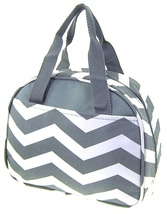 GRAY CHEVRON ZIG ZAG PRINT CANVAS LUNCH TOTE BAG WITH THERMAL LINING! - $21.95