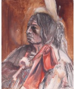 Indian Painting Signed Smythe Oil on Canvas dated 94 copyright 02506 - $249.00