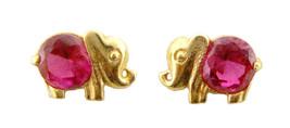 14k Real Gold Elephant CZ Stud Push Back Earrings for Children Adults - $54.77