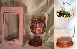 WOODEN ORNAMENT STAND    w/ Hallmark 1997 HOLIDAY BARBIE DECOUPAGE ORNAM... - $3.95