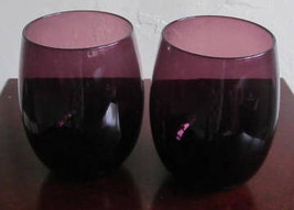 Vintage Hand blown Maroon Purple Color Round Shaped Collectible Glass Tumblers - $24.99