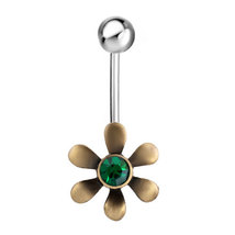 316L Surgical Steel Gold Tone With Green Crystal Flower and green rhines... - $5.39
