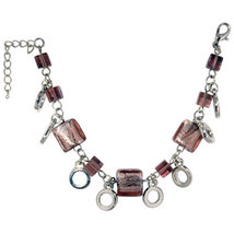 Pugster Handmade Purple Square Murano Glass Bracelets - $11.49
