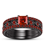Black Rhodium Fn. Princess Cut Red Garnet 925 Silver Engagement Trio Rin... - $141.30
