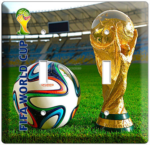 WORLD CUP 2014 SOCCER BALL FIFA GAMES LOGO DOUBLE LIGHT SWITCH WALL PLATE COVER - $11.99