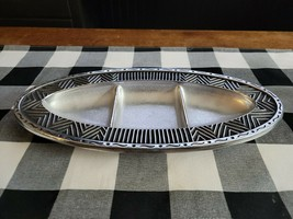 Wilton Armetale Pewter Small Oval Divided Tray 13.75 x 6.6 mid century d... - $33.81