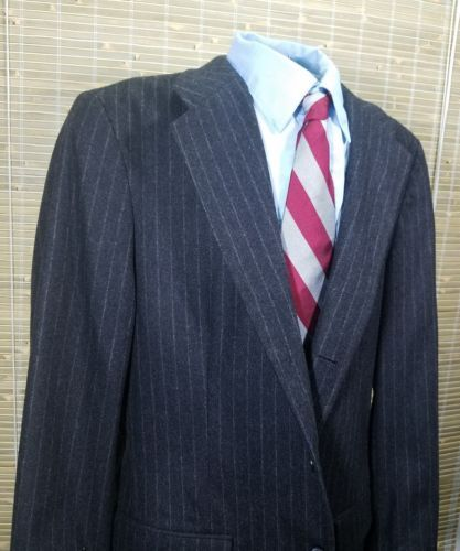 GAP Mens Sport Coat Charcoal Black pinstripes wool/polyester 3 buttons 42R EUC