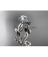 Platinum vine and leaf engagement ring with a Moissanite center stone AD... - $1,400.00