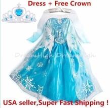 Kids Girls Dress Frozen Elsa Anna Party costume Princess + Free Crown 2-... - $15.99