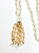 Vintage Pearl Necklace Champagne Off White Iridescent Crystals Tassel  - $9.99
