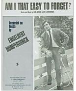 Sheet Music Am I That Easy To Forget Carl Below Engelbert Humperdinck 1958  - $14.36