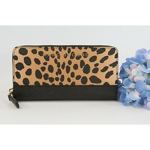 Marc Jacobs Collection Black Leopard Saffiano Leather Slim Zip Wallet NWT  - $143.06