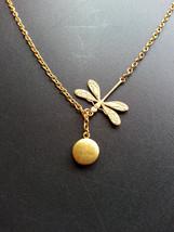 Tiny Gold Locket Gold Dragonfly Lariat Necklace Tiny Photo Locket Woodla... - $27.00
