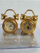 Vintage 1996 Looney Tunes Tweety Bird & Sylvester Gold Mini Clock + Time... - $24.99