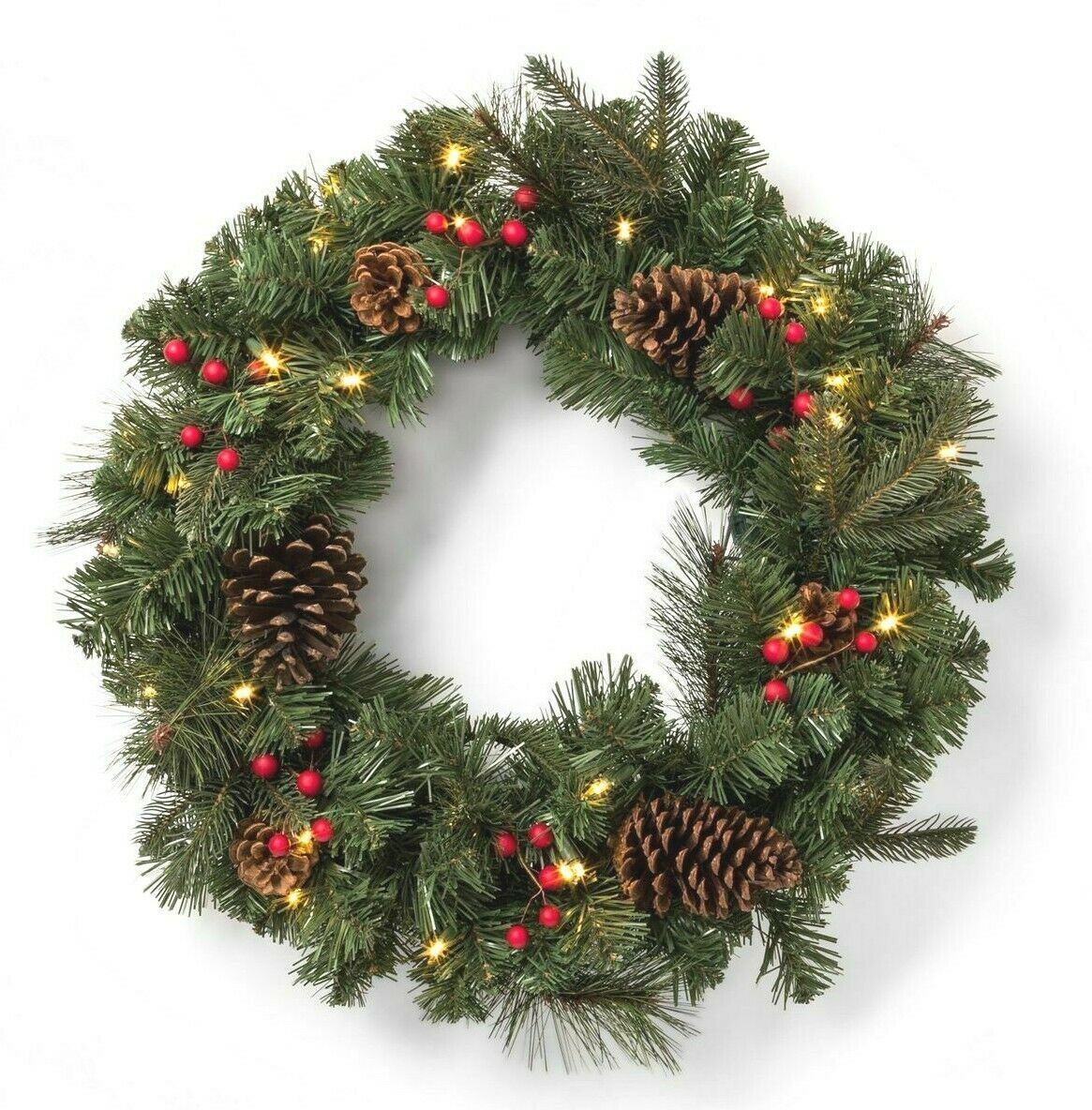 """24"""" Pre-lit Battery Operated LED Red Berry Pinecones Artificial Christmas Wreath"""