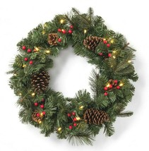 """24"""" Pre-lit Battery Operated LED Red Berry Pinecones Artificial Christmas Wreath image 1"""
