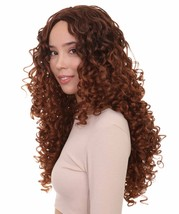Womens Brown Long Curly Wig  Song Contest 2018   Celebrity Wigs   Premium Breath - $31.85