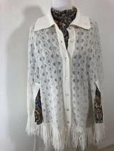 Vtg 70s Knit Poncho Ben Goodman WPL 4302 One Size Cream Cape Cocoon Butt... - $18.89