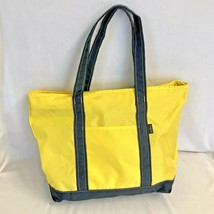 LL Bean Medium Size Nylon Zip Boat Tote Bag Yellow with Blue Trim Freepo... - $34.95