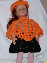 American Girl Orange Hat & Poncho, Handmade Crochet - $15.00