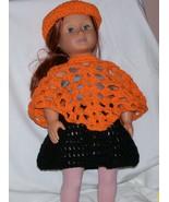 American Girl Orange Hat & Poncho, Handmade Crochet - $20.00
