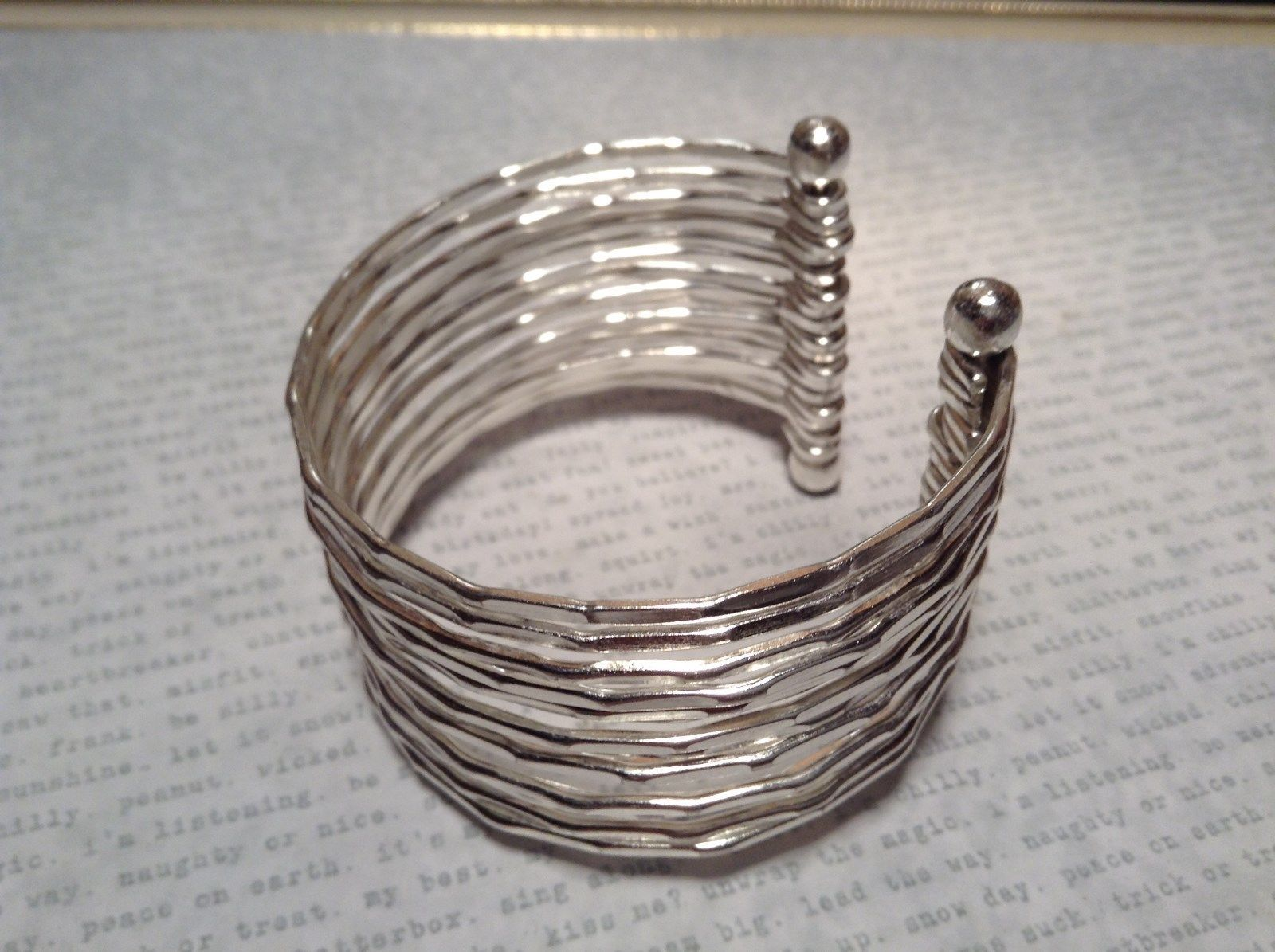 Concentric Handcrafted Silver Plated Multiband Cuff Bracelet 925 Sterling Silver