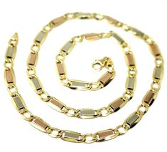 """18K YELLOW WHITE ROSE GOLD CHAIN 6 MM, 20"""" SQUARE FLAT ALTERNATE GOURMETTE LINKS image 3"""