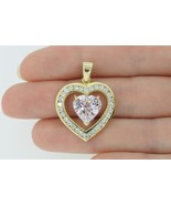 Large Custom 14K Yellow Gold 4ct Heart Shaped Natural Kunzite & Diamond ... - $785.00