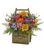 Mixed Floral Artificial Spring Arrangement in Wood Basket Nearly Natural... - $110.35 CAD