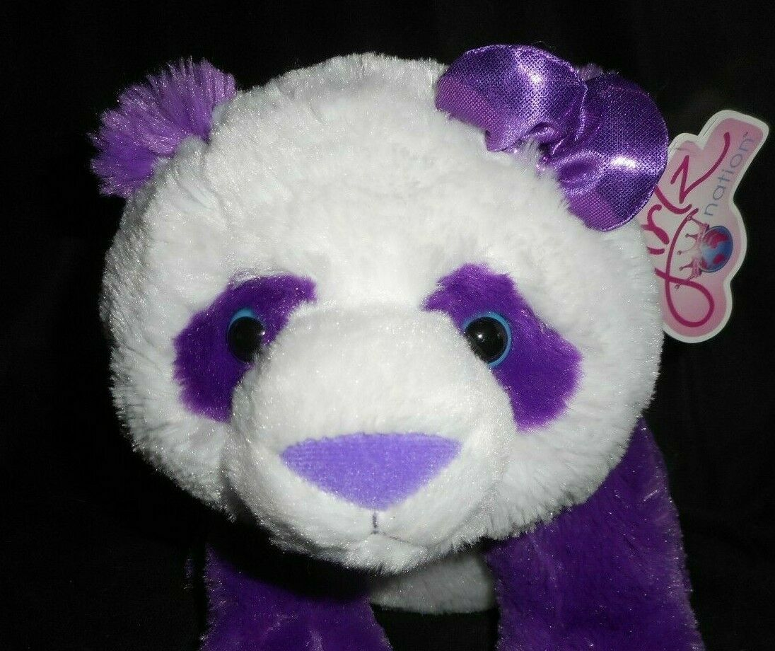"11"" GIRLZ NATION AURORA PURPLE PANDA BEAR W BOW STUFFED ANIMAL PLUSH TOY W/ TAG"