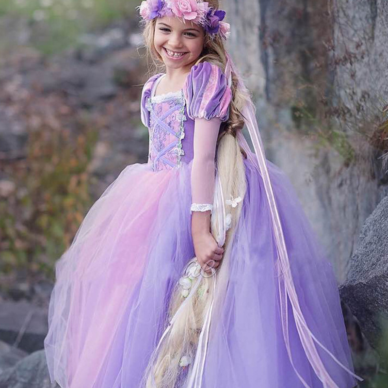 Short Sleeve Sexy Purple Tulle Pricess Wedding Flower Girls Dresses Party Gowns  image 2