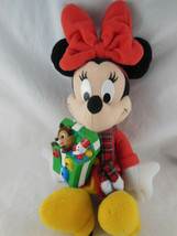 Disney 11 INCH Christmas MINNIE MOUSE Plush w gift of Chipmunk Doll sings Mattel - $19.79