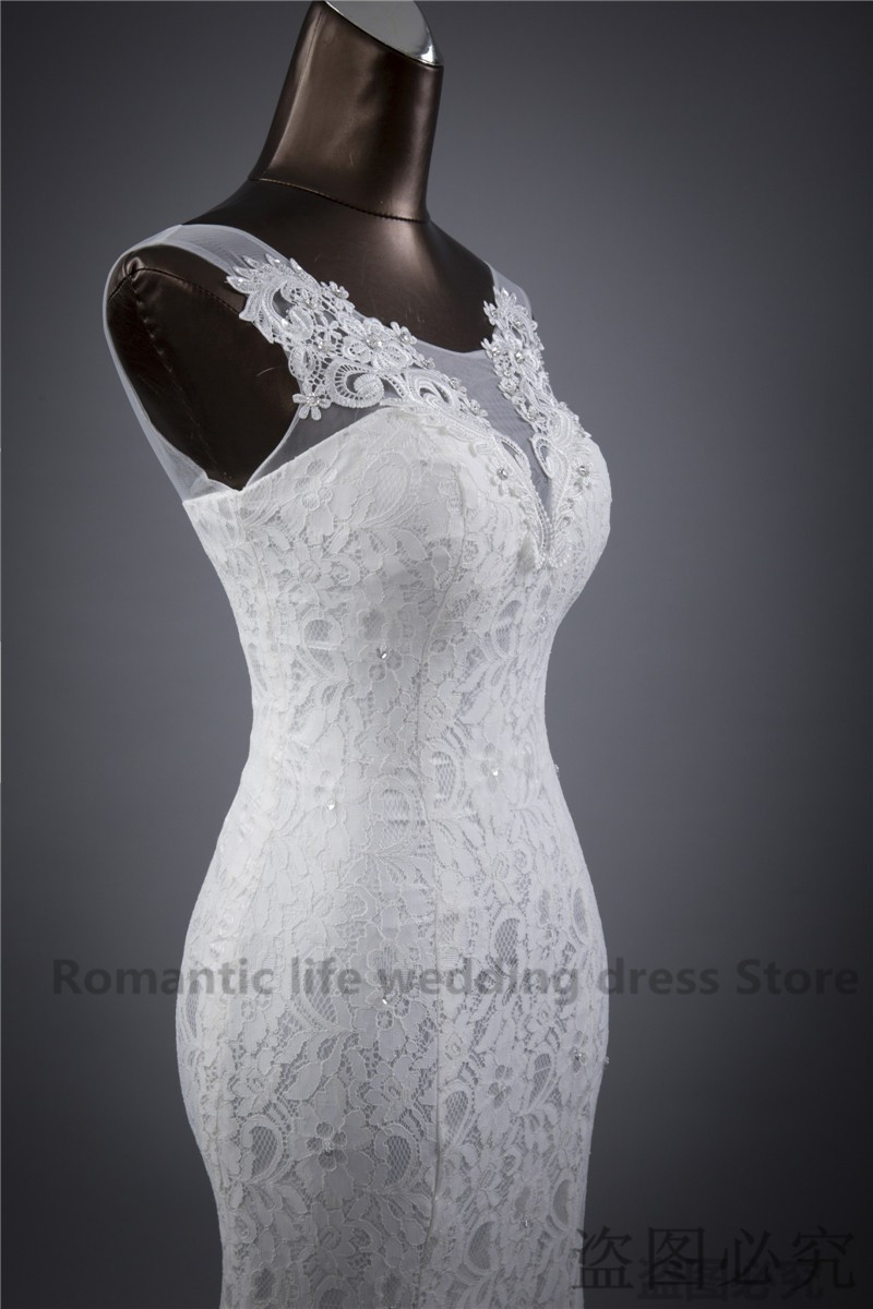 Lace floral mermaid Wedding Dress at Bling Brides Bouquet Online Bridal Store image 2