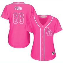 Women's Los Angeles Dodgers #66 Yasiel Puig Jersey Pink Fashion MLB New - $45.99
